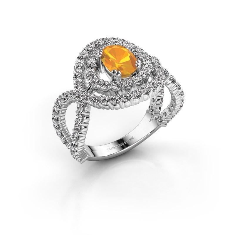 Ring Chau 950 platina citrien 7x5 mm