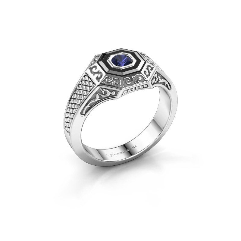 Men's ring Dion 375 white gold sapphire 4 mm