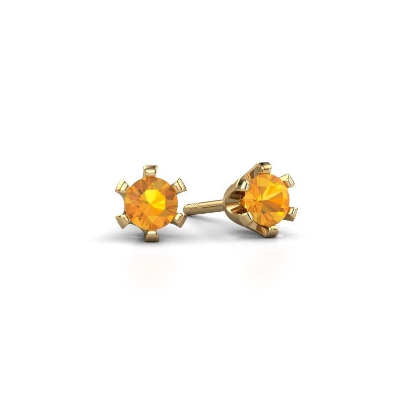 Oorstekers Shana 375 goud citrien 4 mm