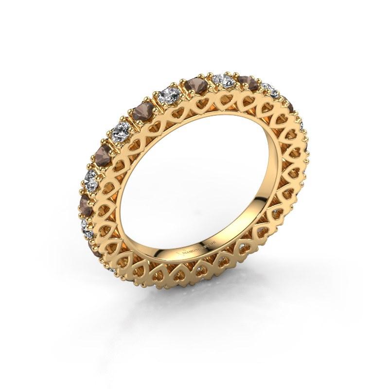 Stackable ring Hailey 585 gold smokey quartz 2.2 mm