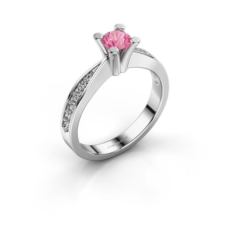 Promise ring Ichelle 2 950 platina roze saffier 4.7 mm