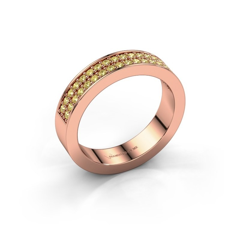 Stackable ring Catharina 4 375 rose gold yellow sapphire 1.3 mm