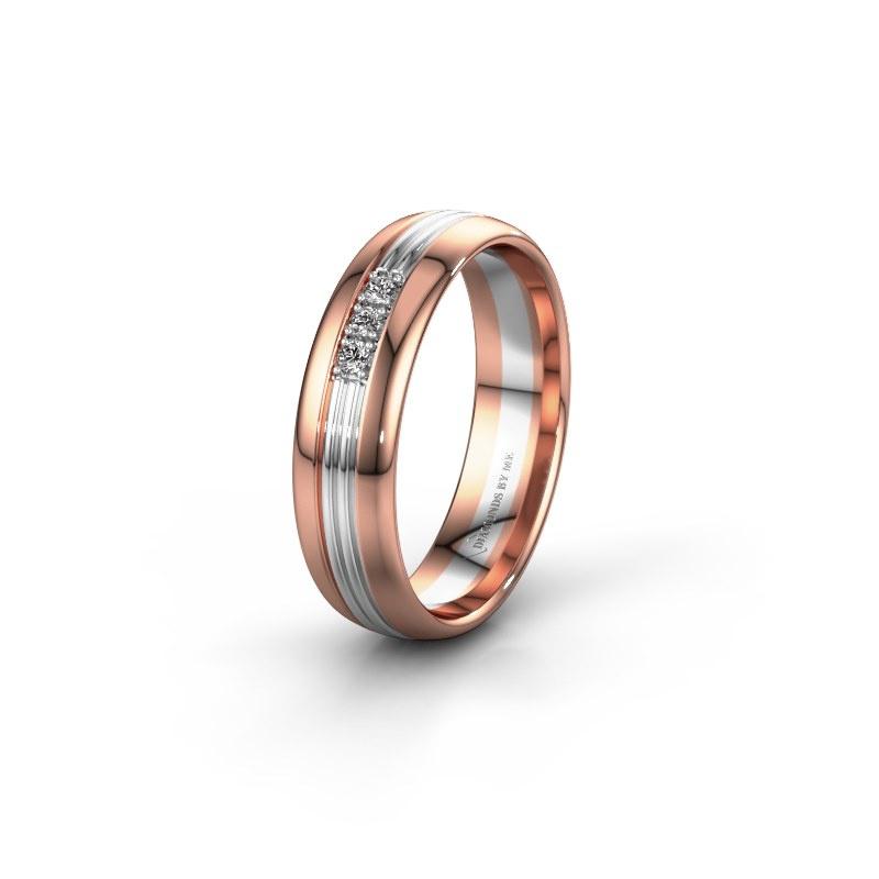 Trouwring WH0405L35X 585 rosé goud diamant ±5x1.5 mm