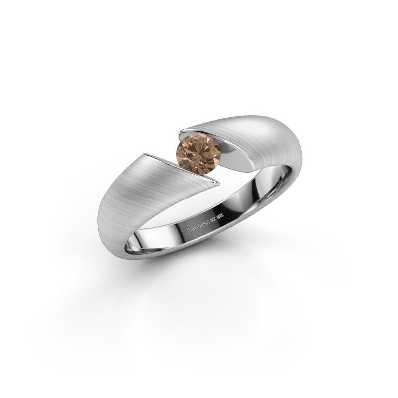 Verlovingsring Hojalien 1 950 platina bruine diamant 0.25 crt