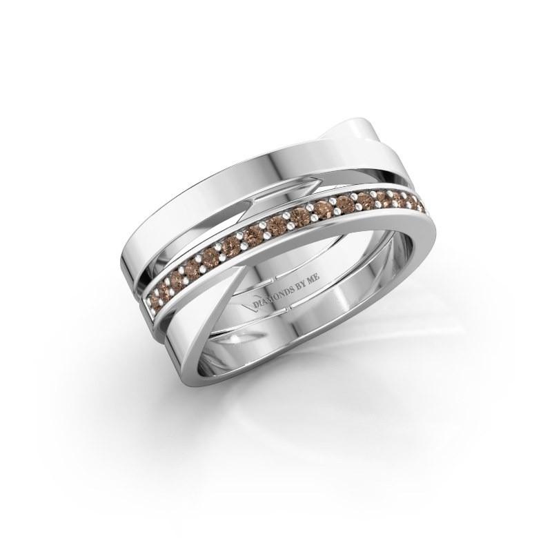 Ring Yolando 585 witgoud bruine diamant 0.16 crt