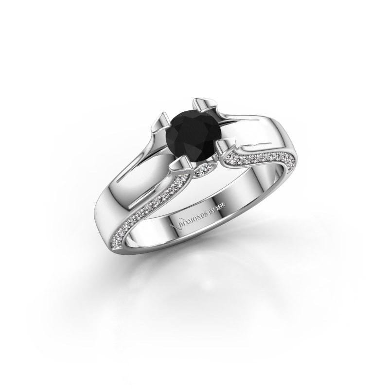 Bague de fiançailles Jeanne 1 585 or blanc diamant noir 0.920 crt