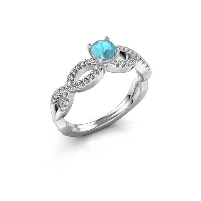Verlovingsring Hanneke 585 witgoud blauw topaas 4.7 mm