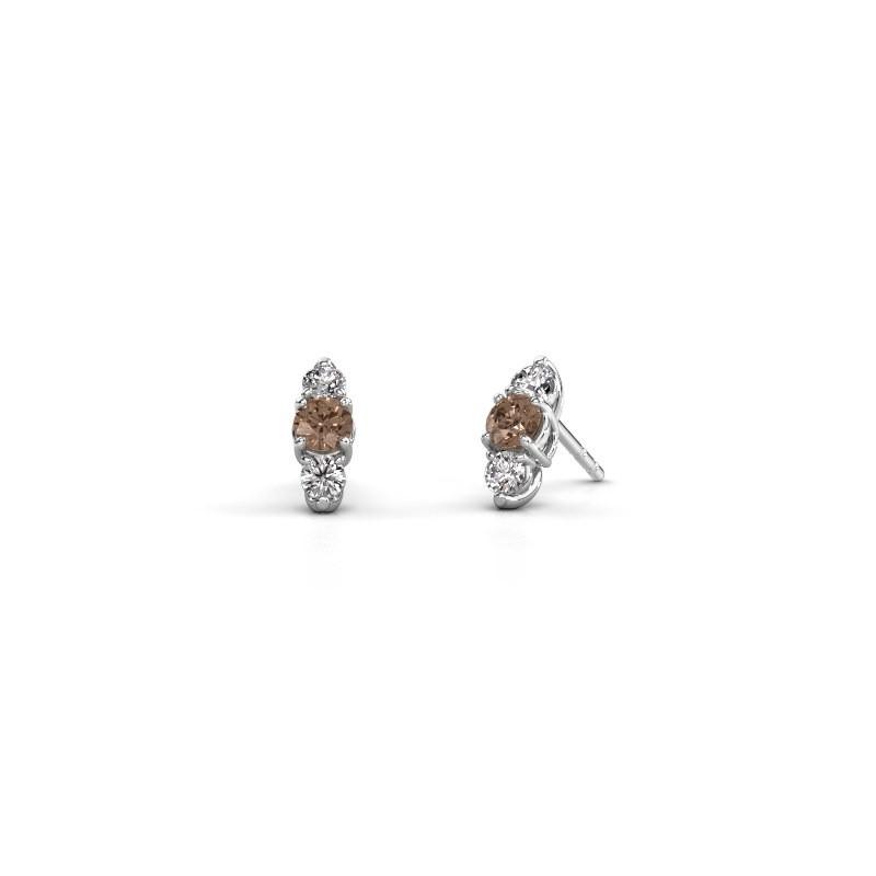 Oorbellen Amie 950 platina bruine diamant 0.90 crt