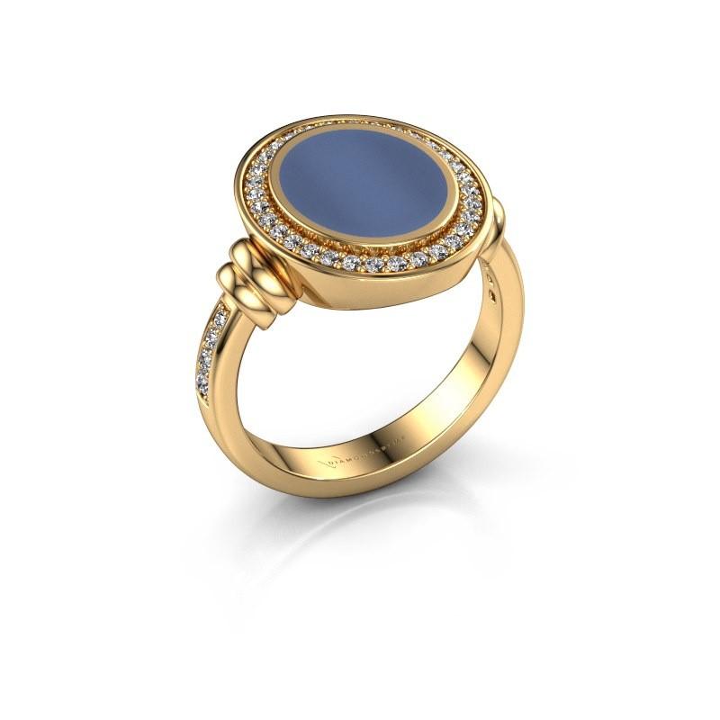 Siegelring Servie 2 585 Gold Blau Lagenstein 12x10 mm