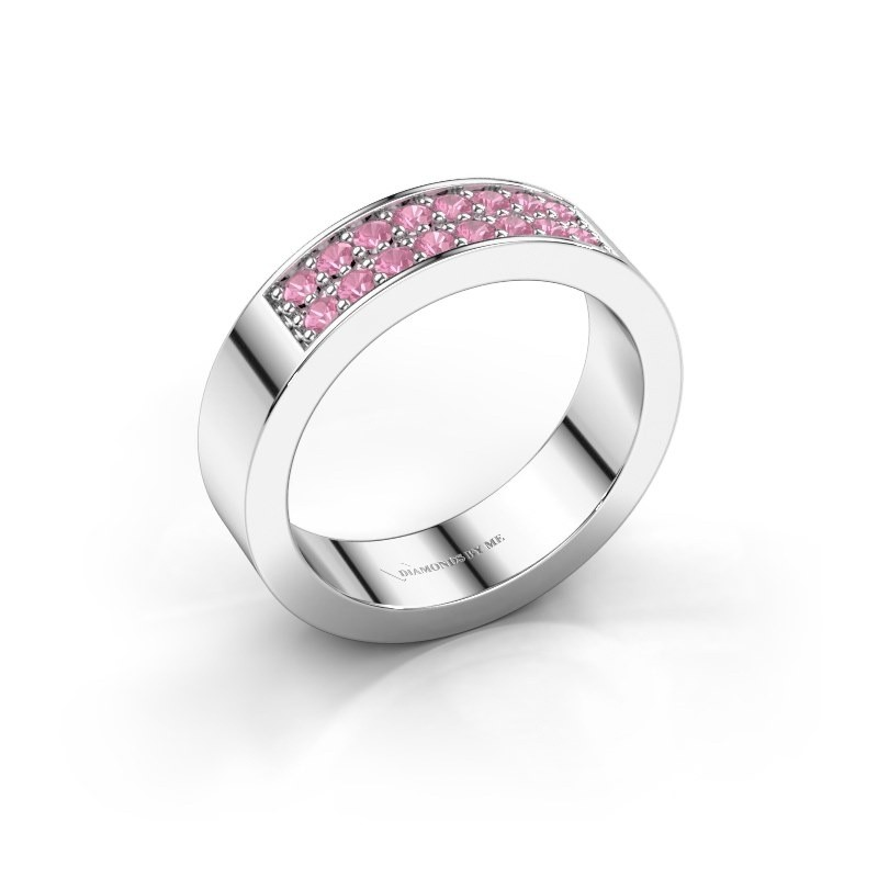 Stackable ring Catharina 5 950 platinum pink sapphire 1.7 mm