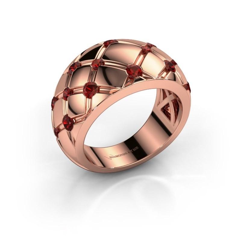 Ring Imke 375 Roségold Granat 2.5 mm
