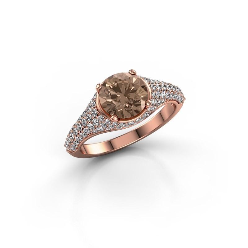 Verlovingsring Lovella 375 rosé goud bruine diamant 1.929 crt