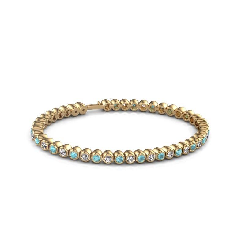 Tennisarmband Asley 375 goud blauw topaas 3 mm