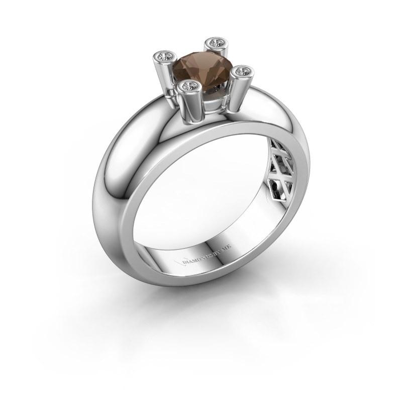 Ring Cornelia Round 925 silver smokey quartz 5 mm