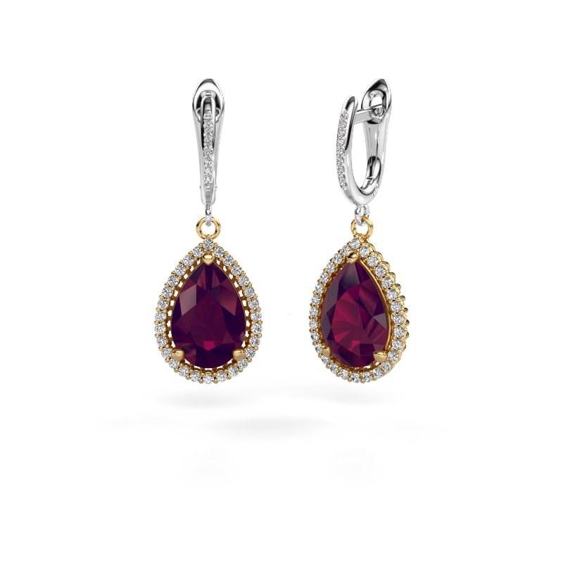 Drop earrings Tilly per 4 585 gold rhodolite 12x8 mm