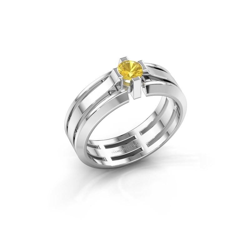 Heren ring Sem 950 platina gele saffier 4.7 mm