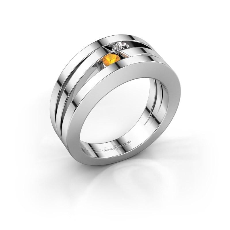 Ring Valerie 585 witgoud citrien 2.7 mm