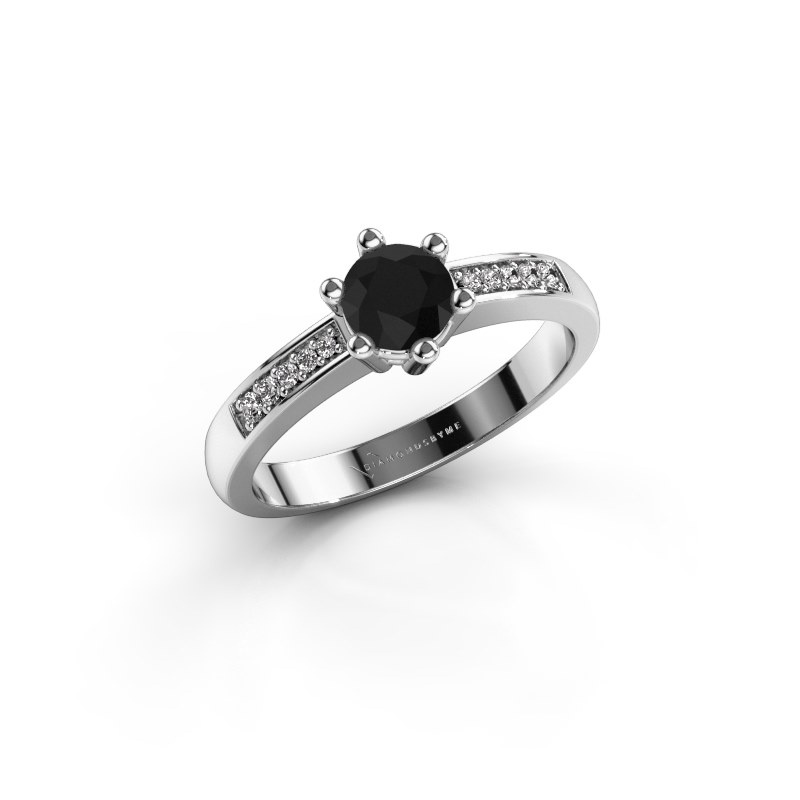 Verlovingsring Luna 2 585 witgoud zwarte diamant 0.60 crt