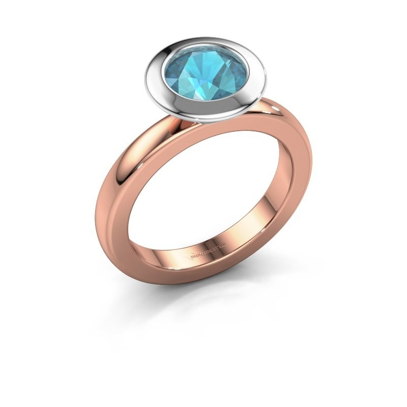 Stapelring Trudy Round 585 rosé goud blauw topaas 7 mm
