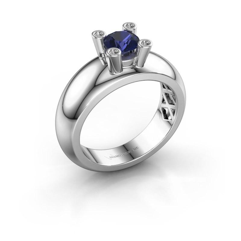 Ring Cornelia Round 925 silver sapphire 5 mm