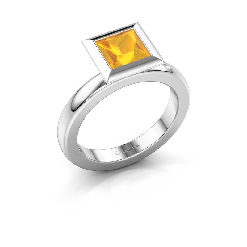 Stapelring Trudy Square 925 zilver citrien 6 mm