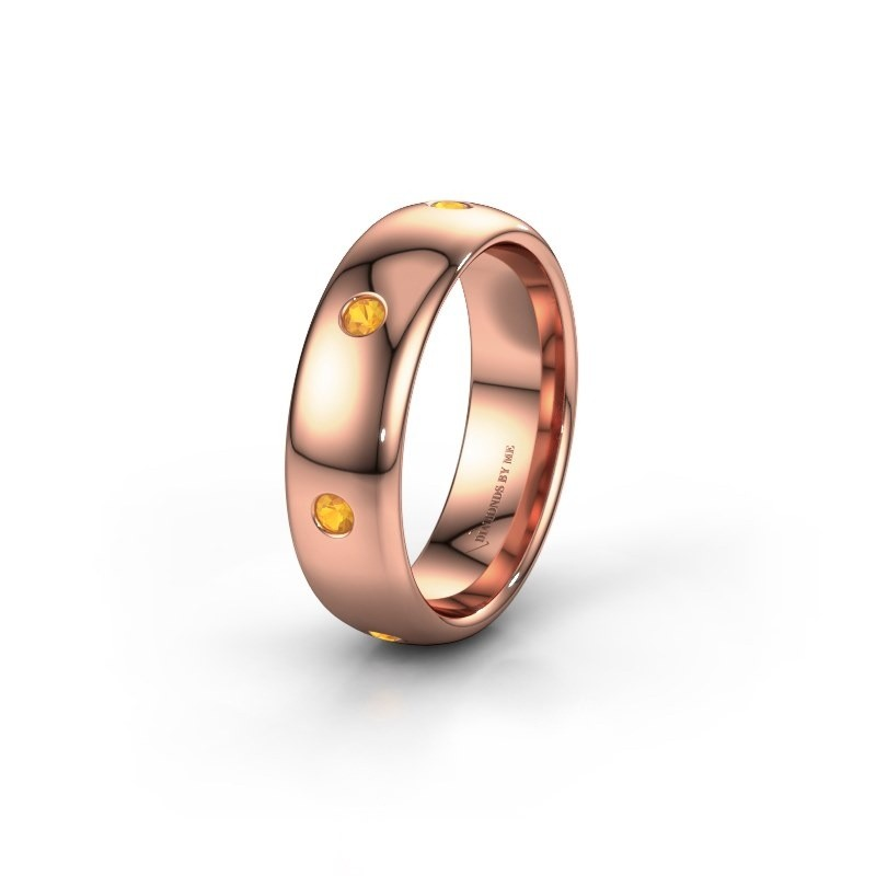 Wedding ring WH0105L36BP 375 rose gold citrin ±0.24x0.08 in