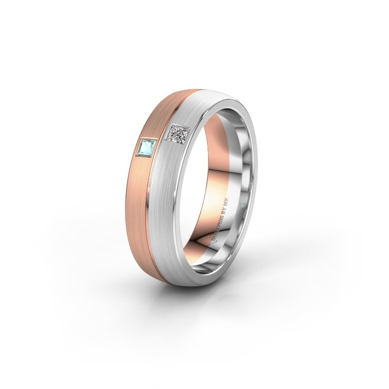 Wedding ring WH0250L26BM 585 rose gold aquamarine ±0.24x0.08 in