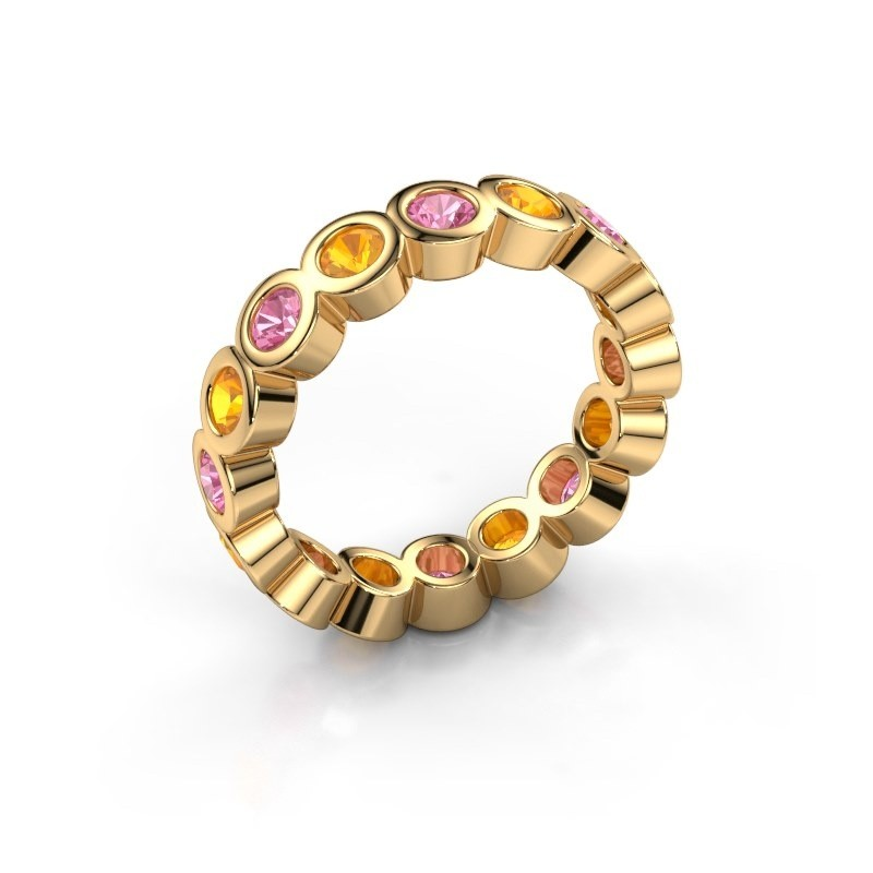 Stackable ring Edwina 3 375 gold pink sapphire 3 mm