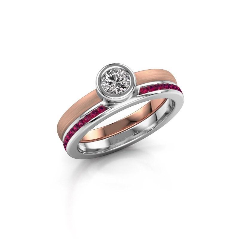 Ring Cara 585 rosé goud rhodoliet 4 mm
