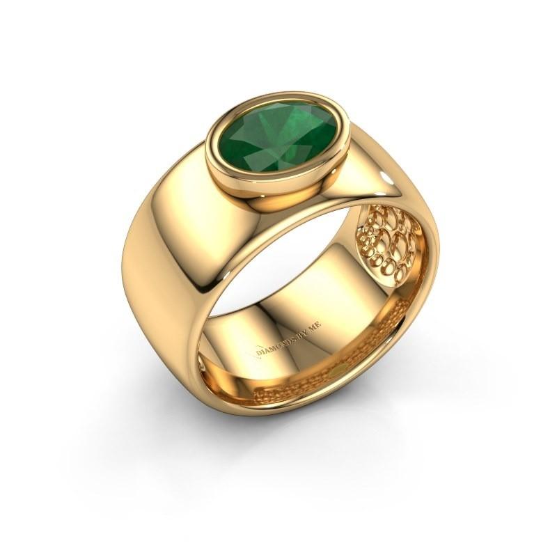 Ring Anouschka 585 Gold Smaragd 8x6 mm
