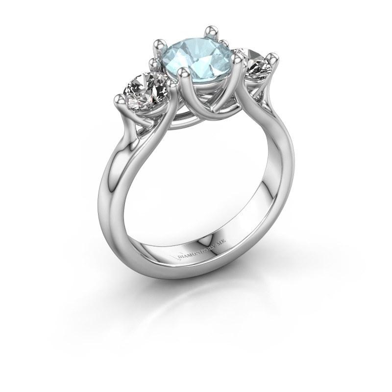 Engagement ring Esila 950 platinum aquamarine 6.5 mm