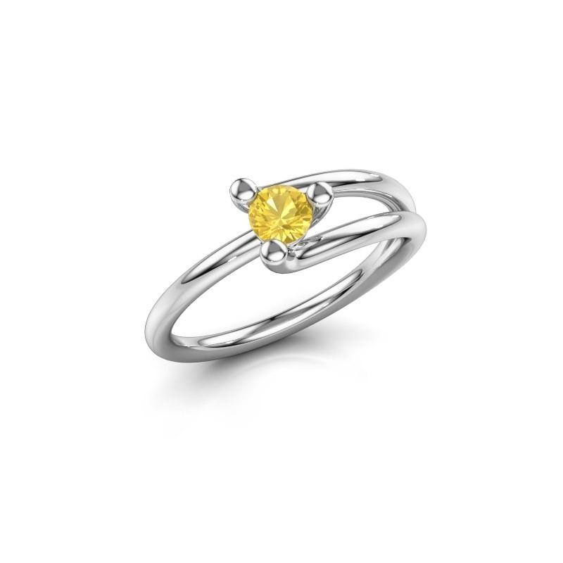 Engagement ring Roosmarijn 585 white gold yellow sapphire 4 mm