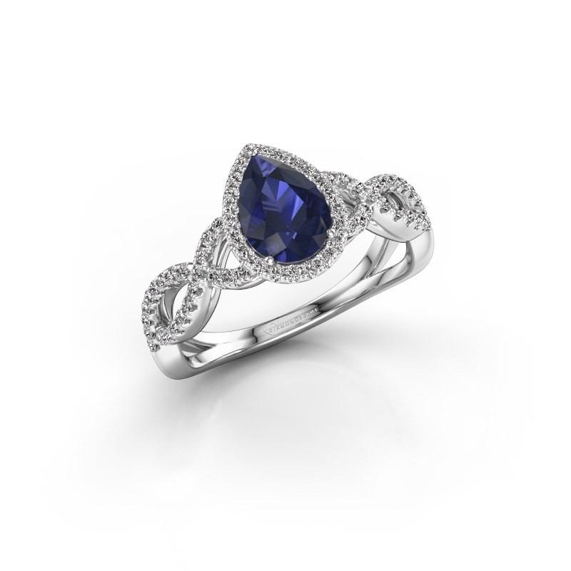 Engagement ring Dionne pear 950 platinum sapphire 7x5 mm