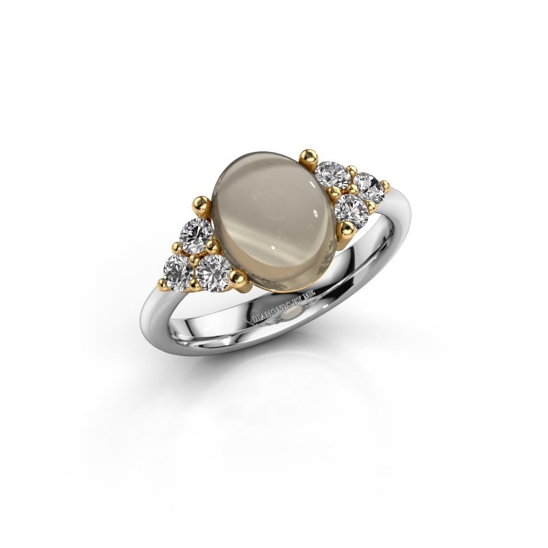 Ring Clarice 585 witgoud rookkwarts 10x8 mm