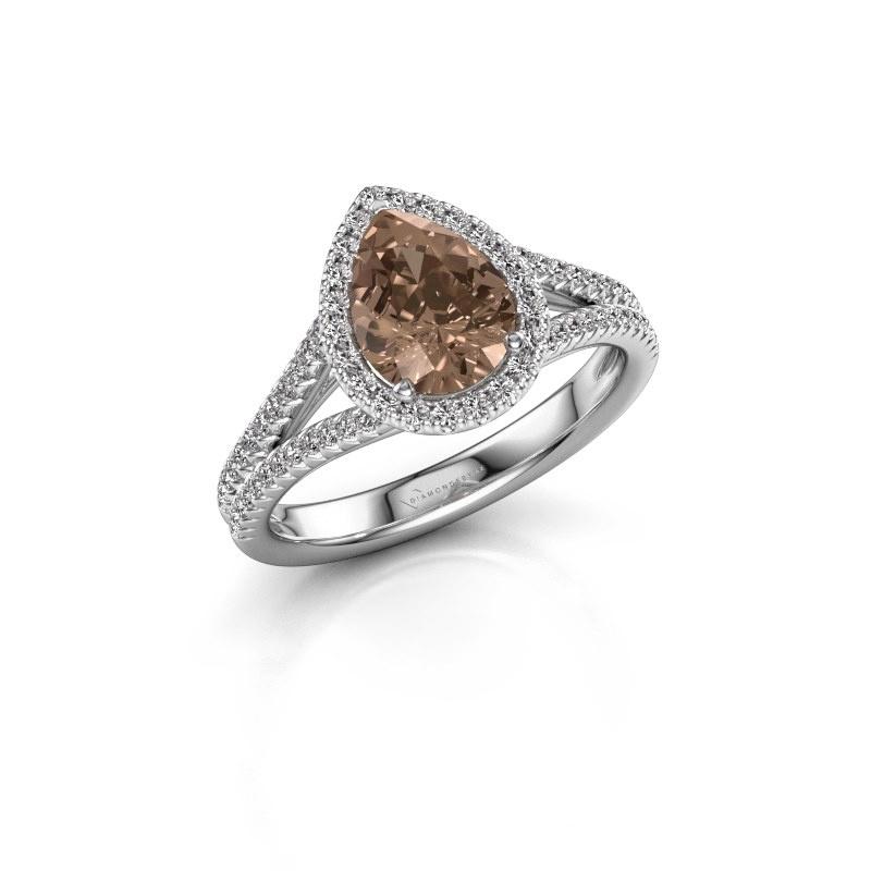 Verlovingsring Verla pear 2 950 platina bruine diamant 1.337 crt