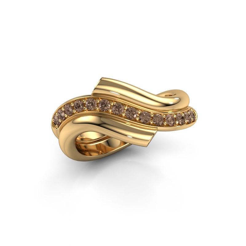 Ring Guusje 585 gold brown diamond 0.35 crt