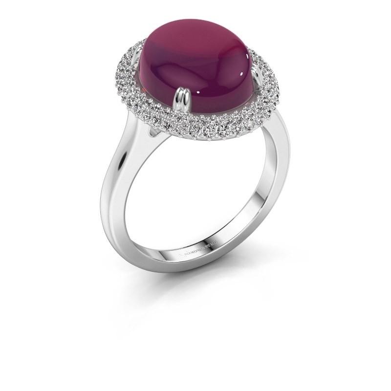 Ring Jayna 925 zilver rhodoliet 12x10 mm