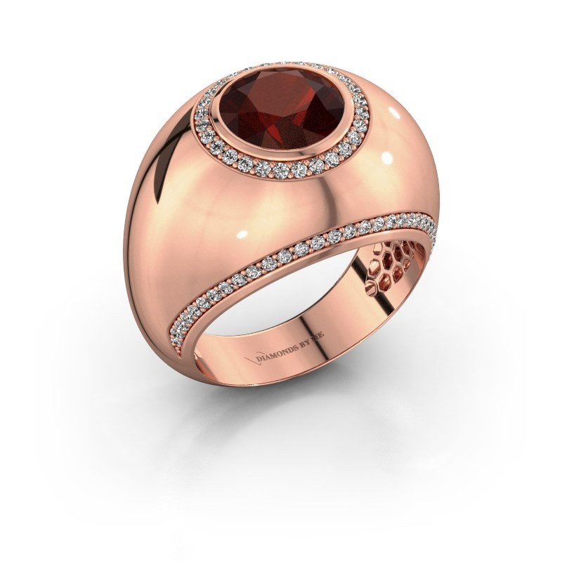 Ring Roxann 375 rosé goud granaat 8 mm