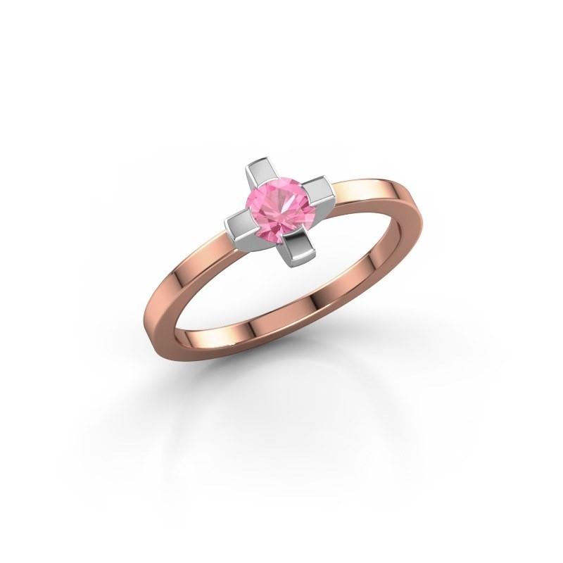 Ring Therese 585 rosé goud roze saffier 4.2 mm