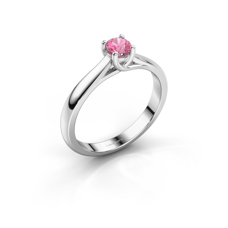 Engagement ring Mia 1 585 white gold pink sapphire 4 mm