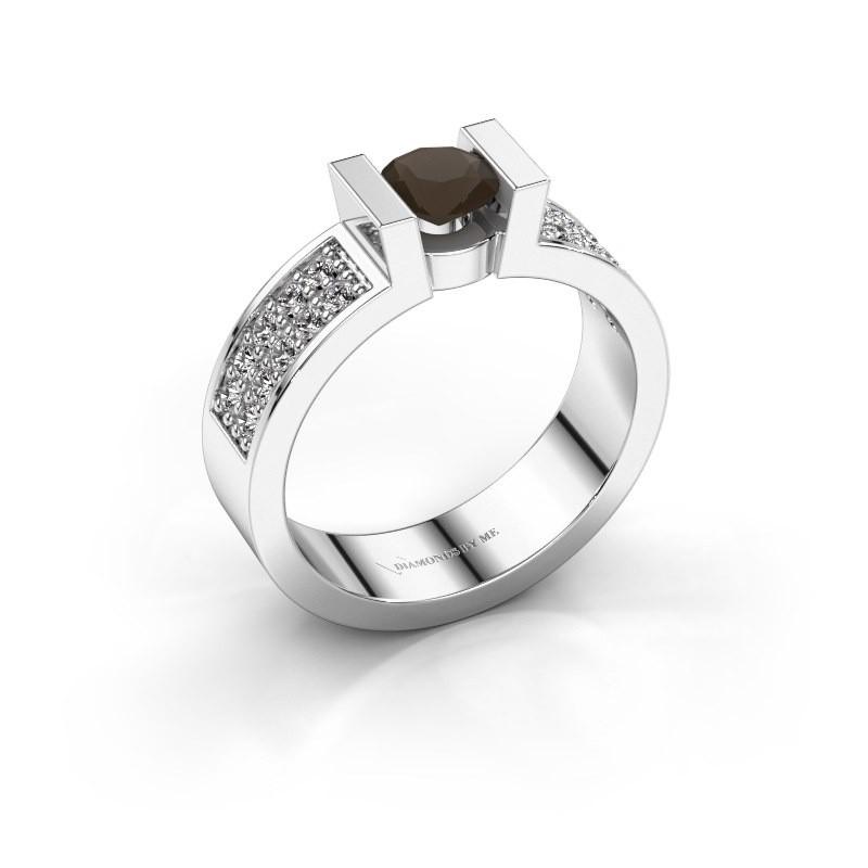 Verlovingsring Lieve 3 925 zilver rookkwarts 5 mm