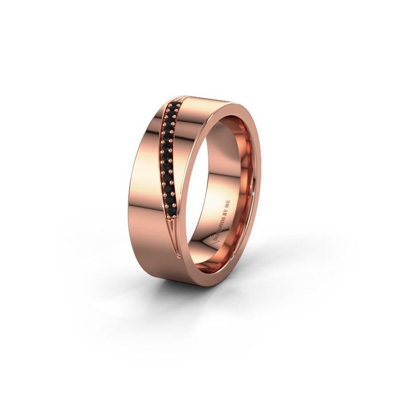 Trouwring WH2146L17A 375 rosé goud zwarte diamant ±7x1.7 mm