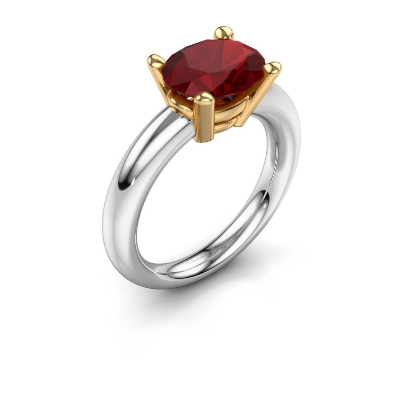 Ring Janiece 585 witgoud robijn 10x8 mm