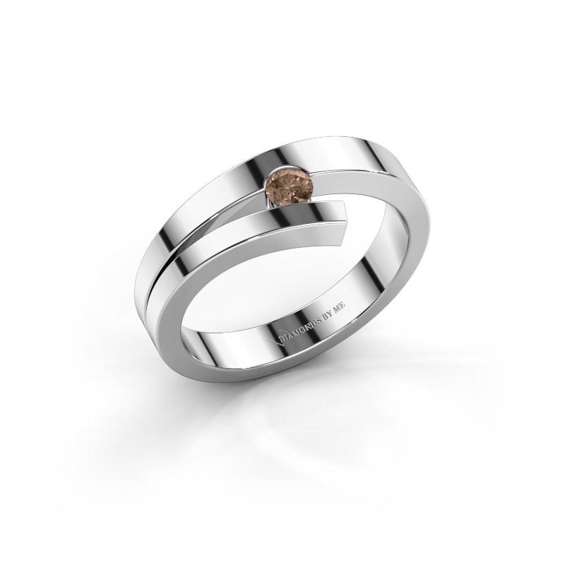 Ring Rosario 585 witgoud bruine diamant 0.10 crt