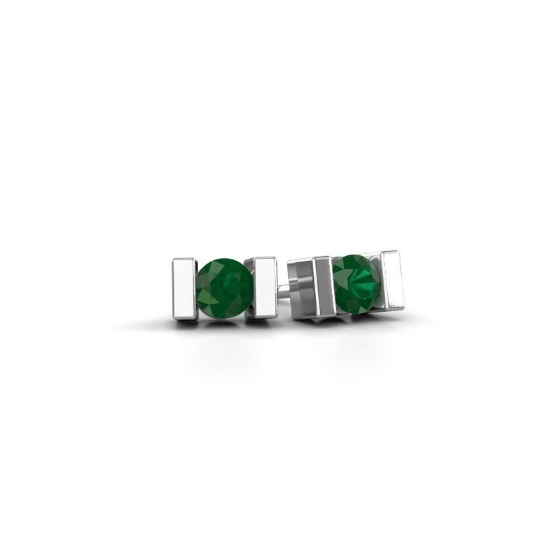 Oorstekers Lieve 375 witgoud smaragd 3.7 mm