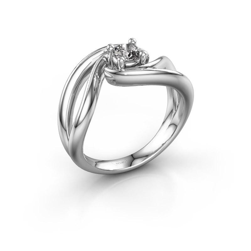 Ring Kyra 585 witgoud zirkonia 4 mm