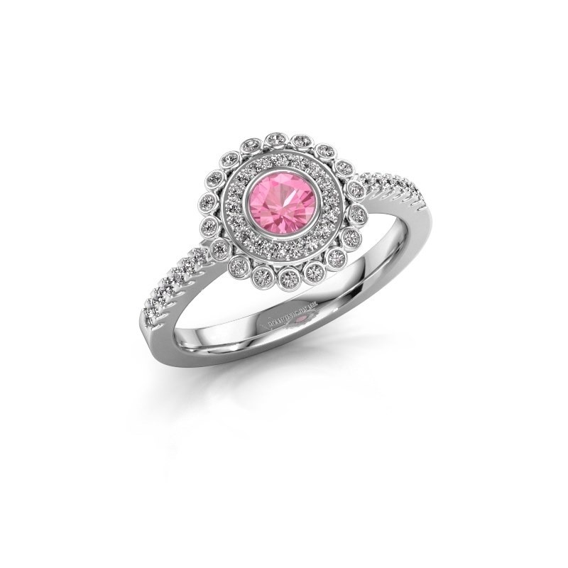 Engagement ring Shanelle 585 white gold pink sapphire 4 mm