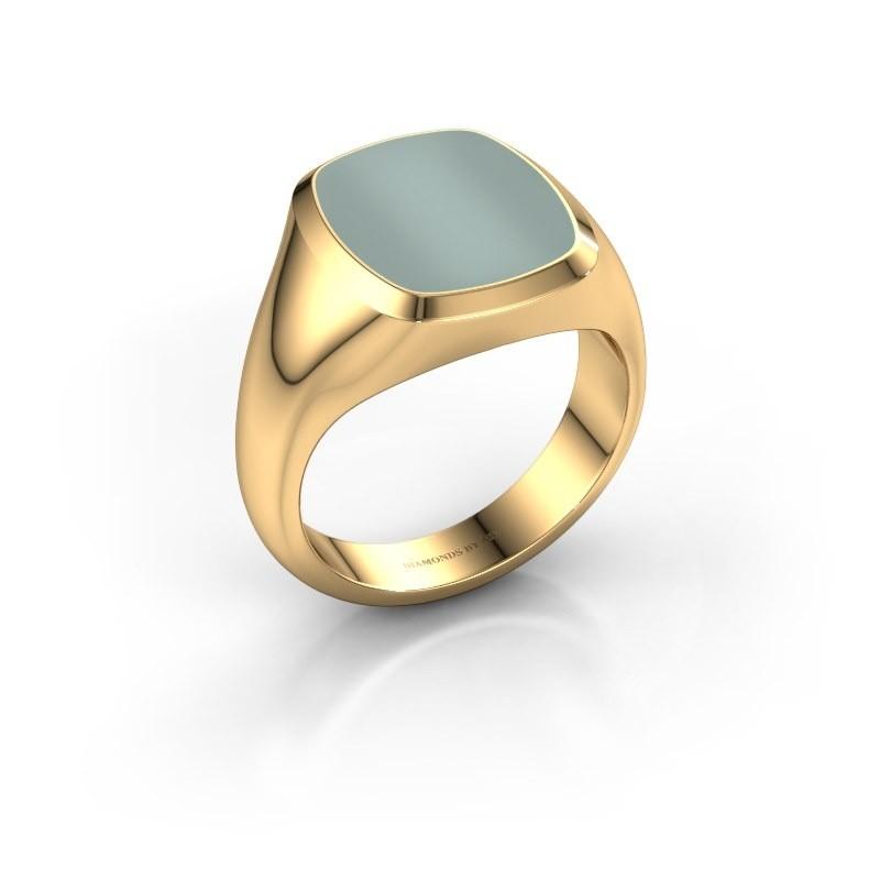 Zegelring Benjamin 3 585 goud groene lagensteen 14x12 mm