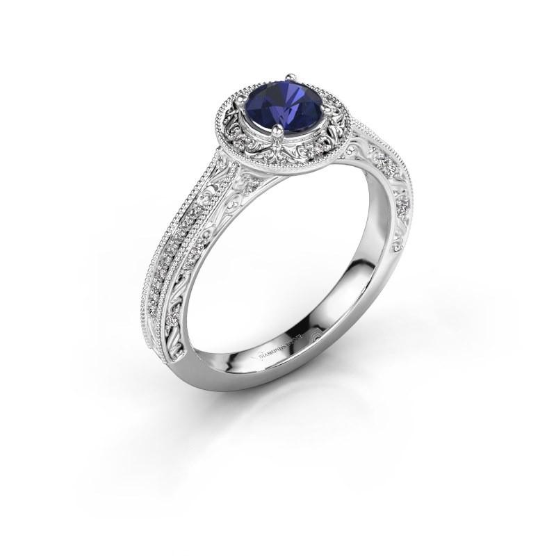 Verlovings ring Alice RND 585 witgoud saffier 5 mm