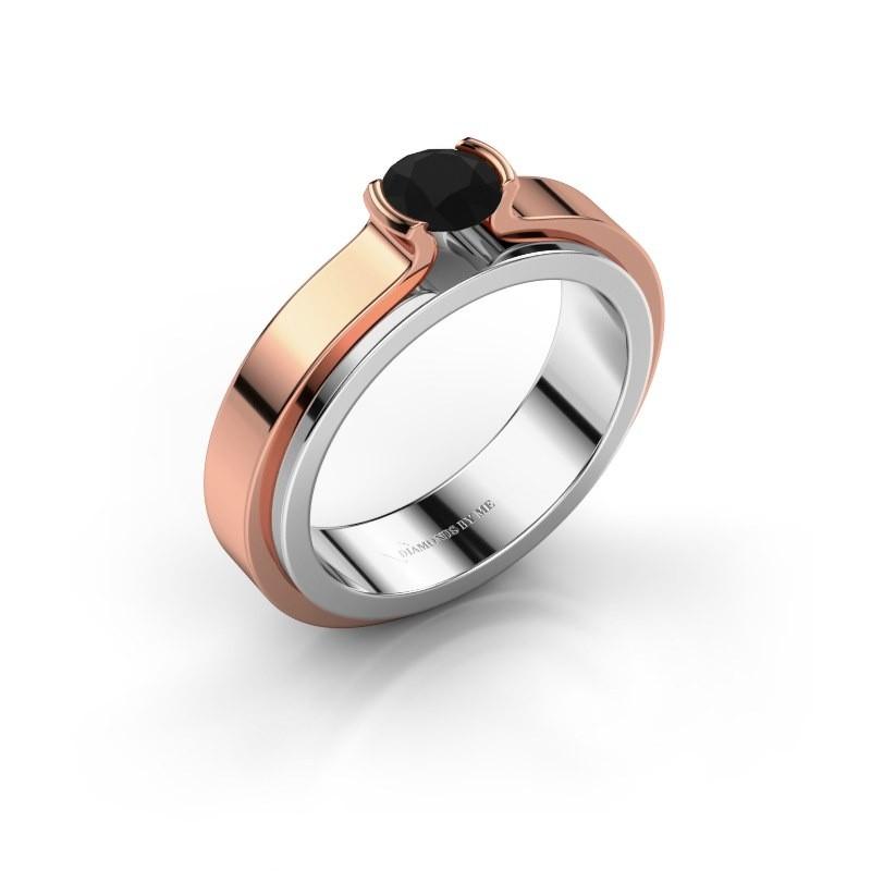 Engagement ring Jacinda 585 white gold black diamond 0.48 crt